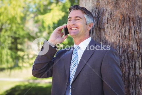 Businessman on the phone in park