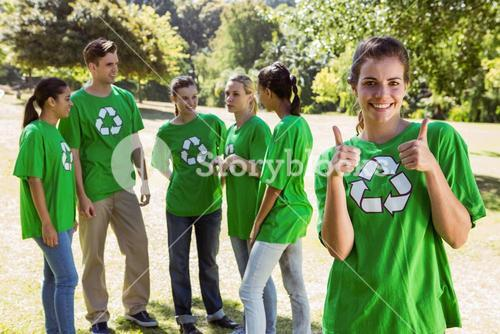 Environmental activist showing thumbs up