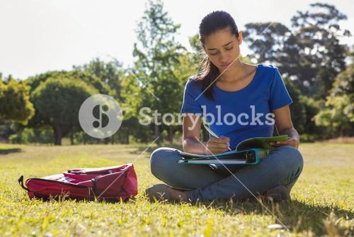 Pretty student studying outside