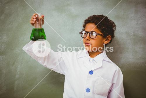 Bboy holding conical flask in classroom