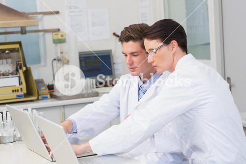 Scientists working attentively with laptop