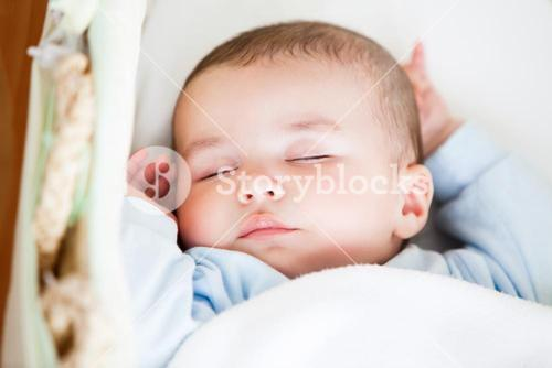 Portrait of a sleeping baby lying in his cradle