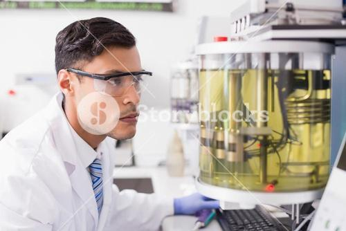 Concentrated scientist working