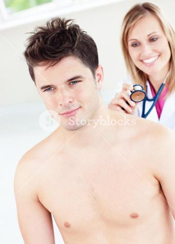 Cute female doctor feeling the breathing of a patient using her stethoscope