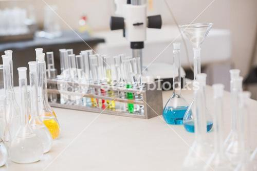 Test tubes with colorful fluid inside