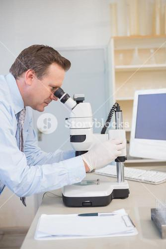 Scientist using computer and microscope