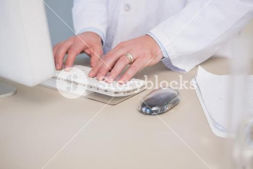 Scientist using computer