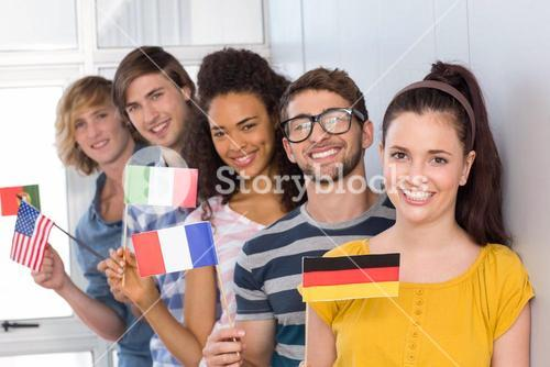 College students holding flags