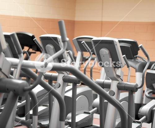 Close up of treadmills in a fitness centre