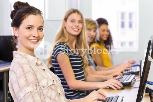 Portrait of students in computer class