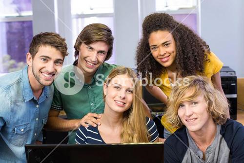 College students using computer