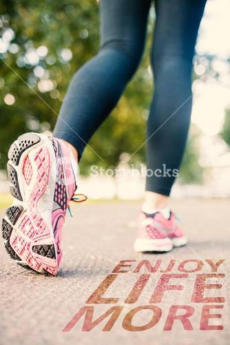 Composite image of close up picture of pink running shoes