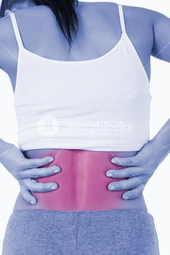 Back view of female with back pain