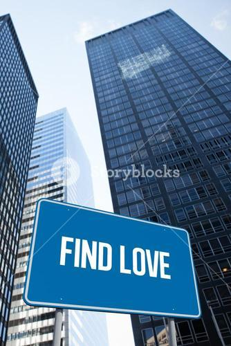 Find love against low angle view of skyscrapers