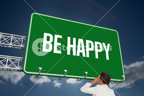 Be happy against sky