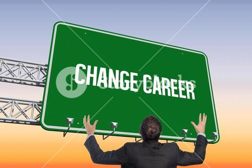 Change career against purple and orange sky