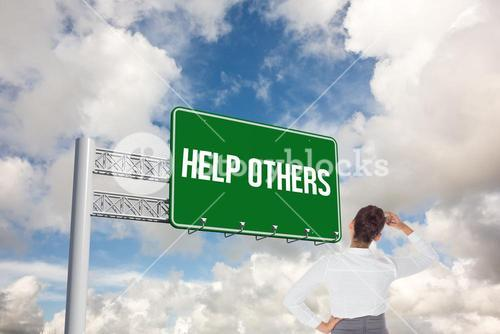 Help others against blue sky with white clouds