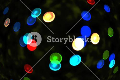 Twinkling blue and green lights