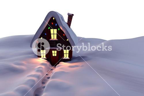 Christmas house in the snow