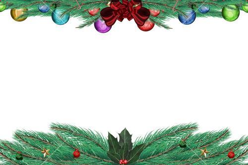 Fir branch frame with decorations