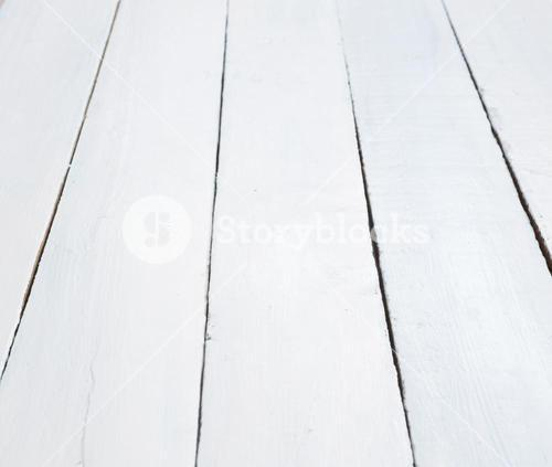 Painted white wooden planks