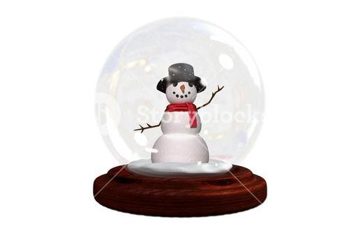 Happy snowman in snow globe