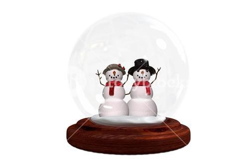 Happy snow couple in snow globe
