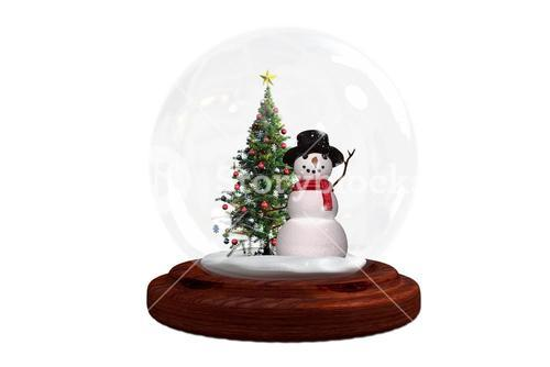 Snowman and christmas tree in snow globe