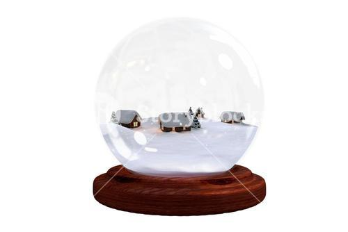 Christmas village in snow globe