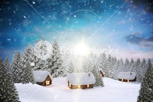 Snow covered village in forest