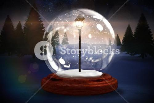 Lamp post in a snow globe
