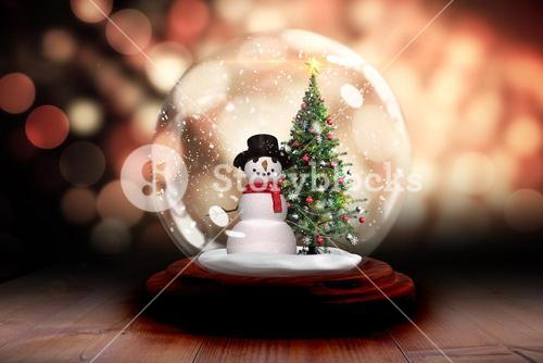 Christmas tree in snow globe