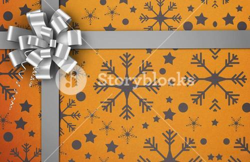Christmas wrapping paper with bow