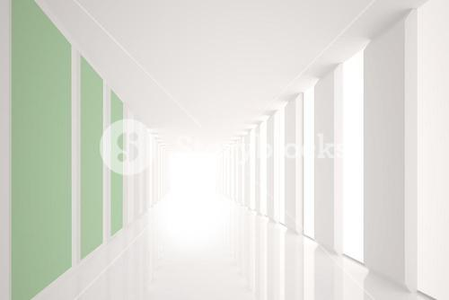 Modern white and green room with window
