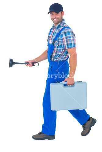 Happy plumber with plunger and toolbox walking on white background