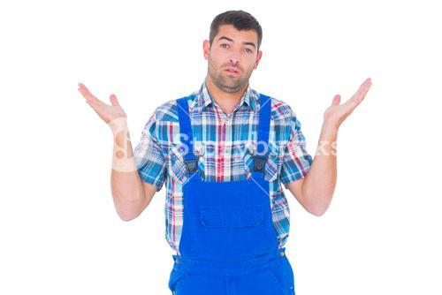 Confused handyman giving I dont know gesture