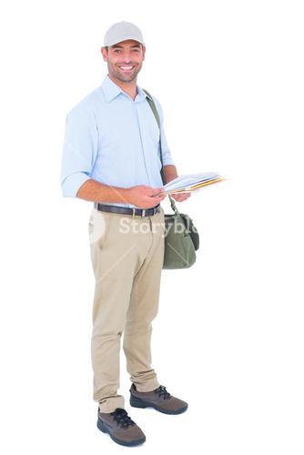 Full length portrait of happy postman with letters