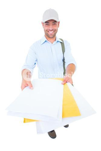 Happy postman delivering lettes on white background