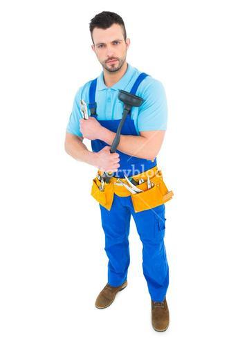 Plumber with plunger and tool belt