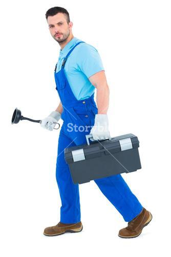 Plumber with plunger and toolbox