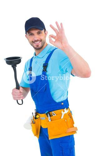 Plumber with plunger gesturing okay