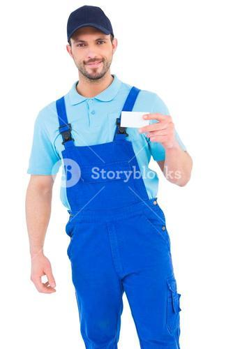 Handyman holding visiting card