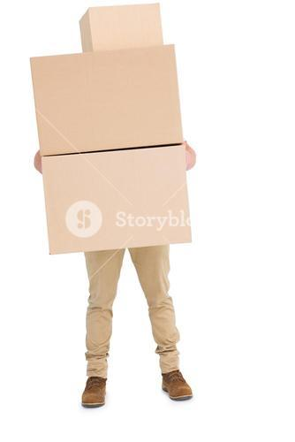 Courier man carrying cardboard boxes