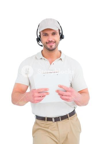 Delivery man with headset and clipboard