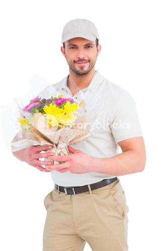 Delivery man holding bouquet
