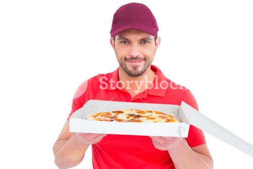 Delivery man showing fresh pizza