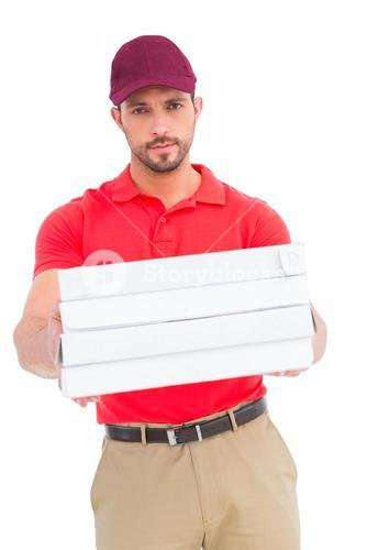 Delivery man giving pizza boxes