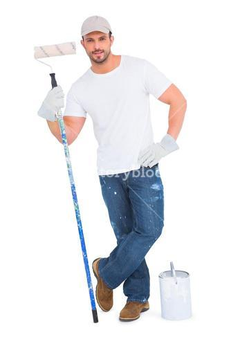 Handyman with paint can and roller