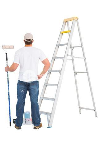 handyman with paint roller and ladder