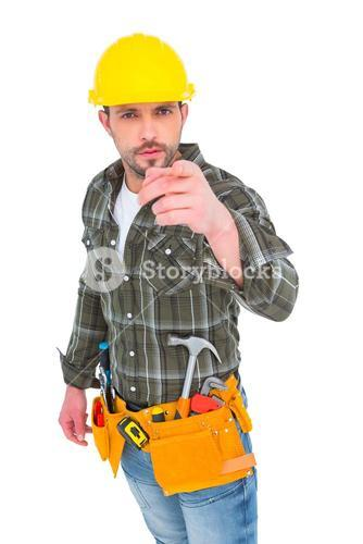 Handyman pointing at you